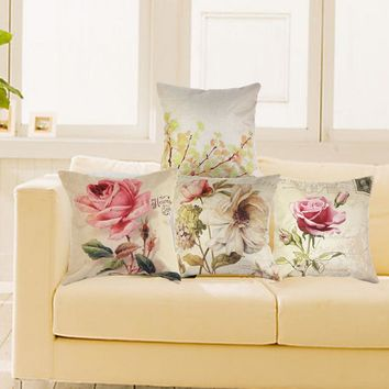 Vintage Decorative Home Cotton Linen Pillow Case Cover Living Room Bed Chair Seat Waist Throw Cushion Rose Flowers Pillowcases