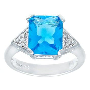 Perfect Size Bright Swiss Blue Emerald Cut Crystal and Cubic Zirconia Silvertone Fashion Ring