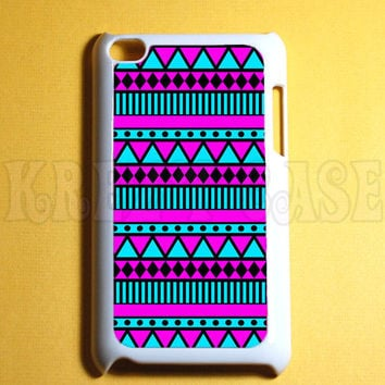 Ipod Touch 4 Case -  Aztec pattern pink and turquoise Ipod 4G Touch Case, 4th Gen Ipod Touch Cases