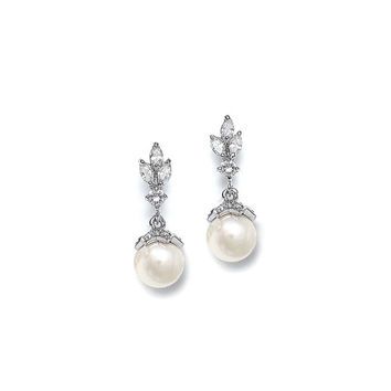 CZ Marquis Trio Earrings with Pearl Drop