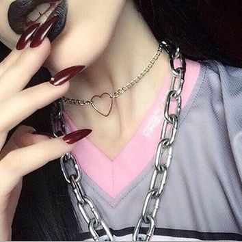 Love Heart Harajuku Hollow out Choker Women Korean Aesthetic Metal Collar Short Necklace Cute Punk Style Goth Silver Gold Color