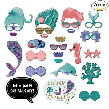 26Pcs Mermaid Photo Booth Props Birthday Party Decorations Kids Photo Fish Party Decorations Baby Shower Happy Birthday Natal.J