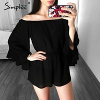 Sexy off shoulder long flare sleeve jumpsuit romper Elegant ruffle women Causal red beach