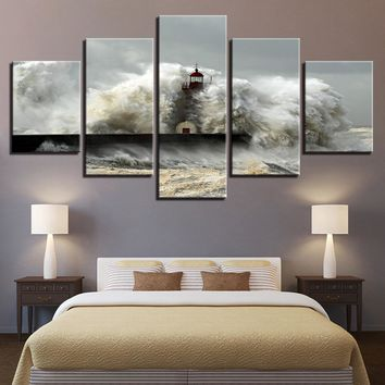 Lighthouse Crashing Waves Ocean Five Piece Canvas