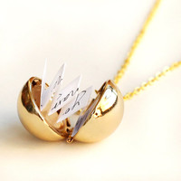 Secret Message Necklaces, golden Ball Locket Necklace, custome message, Personalized Locket Necklace, mom Jewelry, Boyfriend Girlfriend Gift
