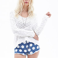 FOREVER 21 Darling Dots Denim Shorts Denim/White