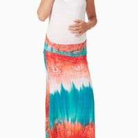 Orange Green Tie Dye Printed Maternity Maxi Skirt