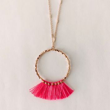 Joy Pink Fringe Necklace