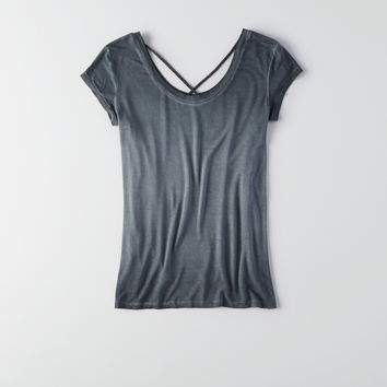 AEO Soft & Sexy Strappy Front T-Shirt , True Black