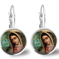 Our Lady Guadalupe Earrings Catholic Virgin Mary Leverback Silver-plated Religious Earrings