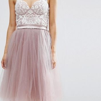 Chi Chi Petite Contrast Lace Corset Top Tulle Skirt Prom Dress at asos.com