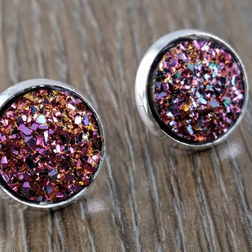 Druzy earrings- pastel rainbow drusy silver tone stud druzy earrings