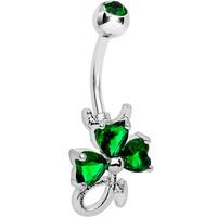 Getting Lucky Green Gem Clover Belly Ring | Body Candy Body Jewelry