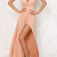 Pink V-Neck Lace Up Side Slit Maxi Dress