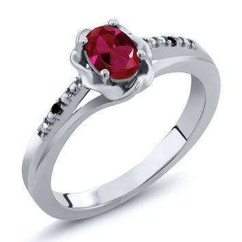 Red Created Ruby Black Diamond 925 Sterling Silver Ring