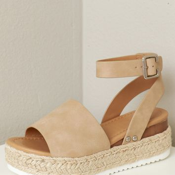 White Bottom Woven Sandal Taupe
