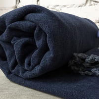 Linen Dark Blue Bed Throw- Full/Twin Size Bedspread