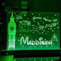 """18""""x24"""" LED Engraved Acrylic Sign Peter Pan Inspired """"Never Grow Up"""" Quote Kids Personalized Light Nightlight Multicolored Lamp Unique Gift"""