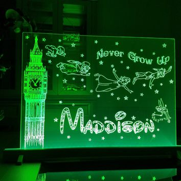 "18""x24"" LED Engraved Acrylic Sign Peter Pan Inspired ""Never Grow Up"" Quote Kids Personalized Light Nightlight Multicolored Lamp Unique Gift"