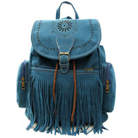 Blue Tassel Fringe Backpack