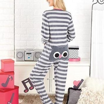 Women's OWL Animal Seat Footed Pajamas One Piece Striped PJ's Small 6/8