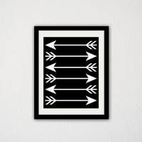 "Arrow Poster. Black and White. Minimalist. Tribal. Home Decor. Simple. Living Room. Bedroom. Gift Idea. 8.5x11"" Print."