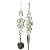 Asymmetric Leaf and Dagger Chain Link Dangle Earrings