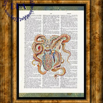 Rainbow Geeky Deep Ocean Octopus Art - Vintage Dictionary Page Art Print Upcycled Page Print, Kitsch Art Print