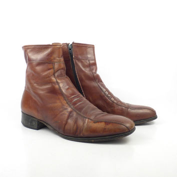 Leather Ankle Boots 1970s Brown Euro Beatle Zip men's size 8 D