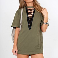 Lace-Up Tunic - Olive