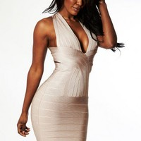 """Charlene"" Nude Crossback Bandage Dress - Love Struck"
