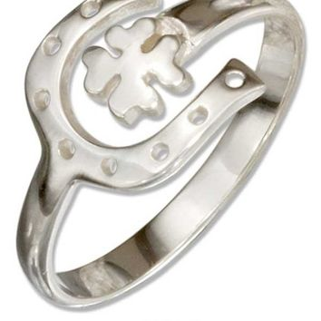 Sterling Silver Adjustable Lucky Horseshoe And Four Leaf Clover Ring