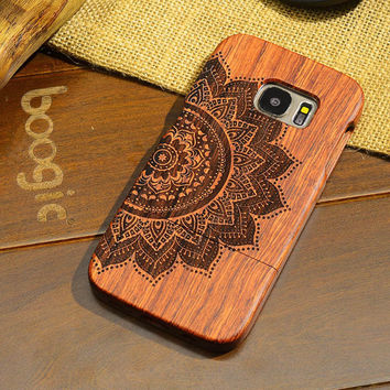 Vintage Rosewood Carve Phone Case Samsung Wooden Pattern Luxury Phone Case [8590841671]