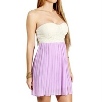 Cream/Orchid Pleated Sweetheart Dress