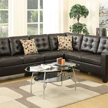 4 pc collette ii collection espresso bonded leather upholstered modular sectional sofa