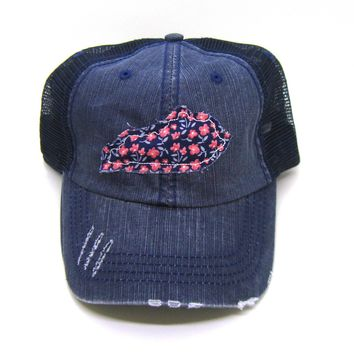 Kentucky Hat - Navy Blue Distressed Trucker Hat - Navy Blue and Red Floral Applique - All States Available