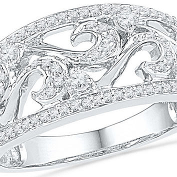 10kt White Gold Womens Round Diamond Filigree Band Ring 1/3 Cttw 100853