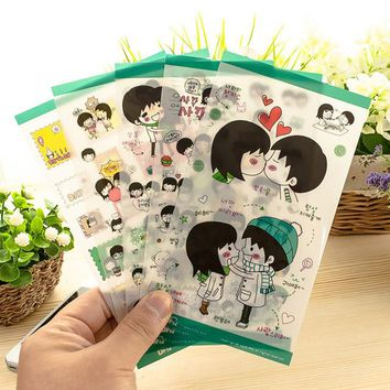 5 Sheets Romantic Love Boys Girls PVC Kawaii Stickers Scrapbooking Diary Planner Label School Office Supply Cute Stationery Kids