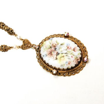 Floral Cameo Necklace, Pastel Colors, Gold Tone, Filigree, West Germany, Signed, Costume Jewelry, Long Length, Pendant. Vintage, 1950s