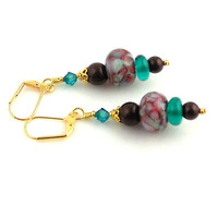 Turquoise and Maroon Lampwork Earrings, Dangle Earring, Beaded Earring, Glass Bead Earring, Fashion Jewelry, Career Wear, Gift, Mother's Day