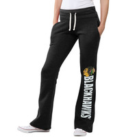 Women's Chicago Blackhawks Original Retro Brand Black Tri-Blend Pocketed Fleece Pants