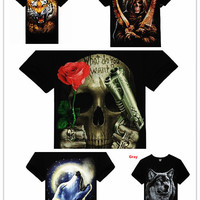 High Quality M-XXXL New Fashion Cotton Brand T Shirt Men 3D Clothes Skull Animal Causul T-Shirts Camisetas Masculinas [10312513539]