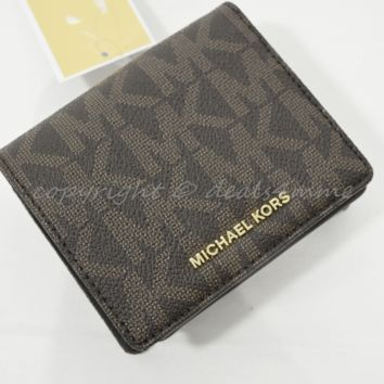 NWT Michael Kors Jet Set Travel Carryall Card Case in Signature Brown