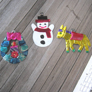 3 Folkloric Mexican Tin Ornaments - Tin Burro Ornament; Tin Snowman Ornament; Tin Wreath Ornament - Painted, Punched Tin Milagro Ornaments