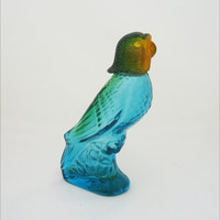 Vintage Avon Island Parakeet Perfume Bottle, Avon Green/Blue Parrot Bottle