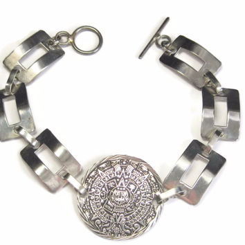 Mens Vintage Aztec Mayan Calendar Bracelet Detailed Sterling 9.5 inches