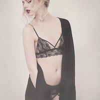 Black and nude Aria lingerie set, handmade to order, uk sizes 4-18.