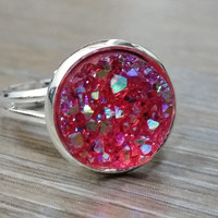Druzy Ring- Crystal Red drusy silver tone druzy ring