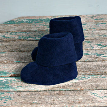 Navy blue polar fleece warm winter baby booties boots uggs style handmade 3 -6m pram crib stroller shoes baby shower gifts Christmas present