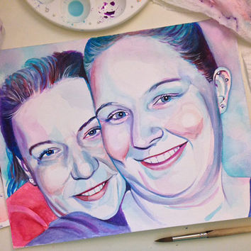 LESBIAN COUPLE watercolor PORTRAIT - Custom gift - Gay Marriage Wedding Anniversary